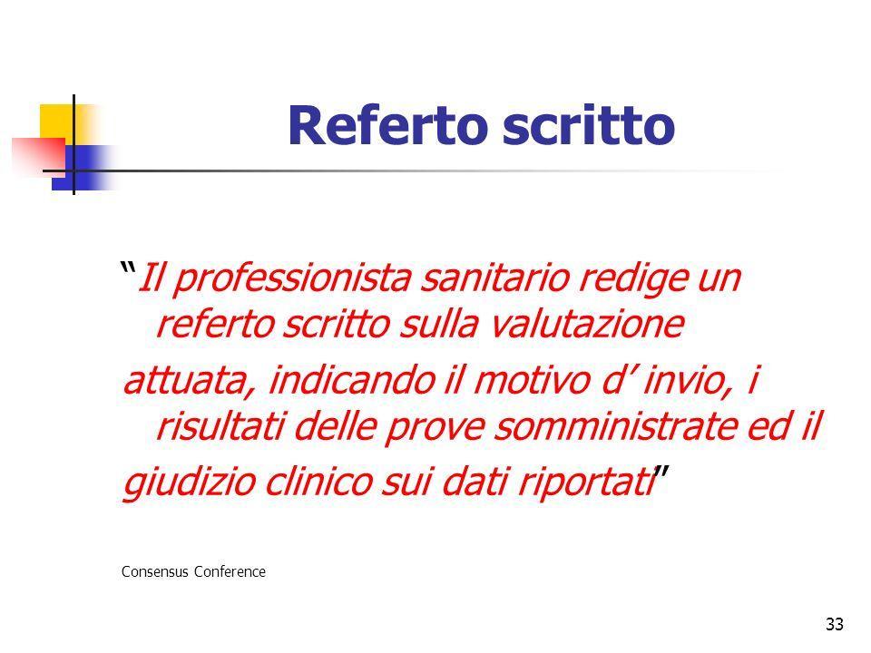 Referto scritto Il professionista sanitario redige un referto scritto sulla valutazione.