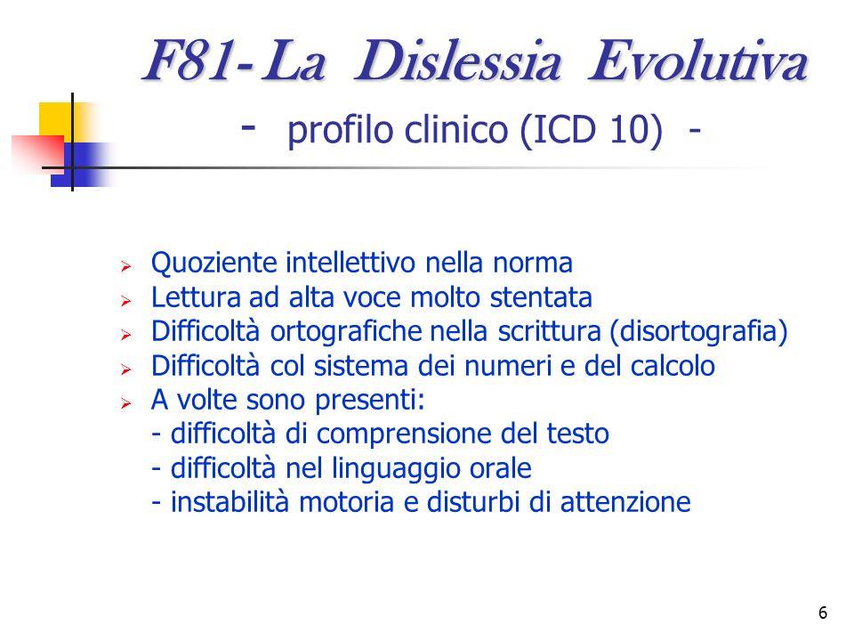 F81- La Dislessia Evolutiva - profilo clinico (ICD 10) -