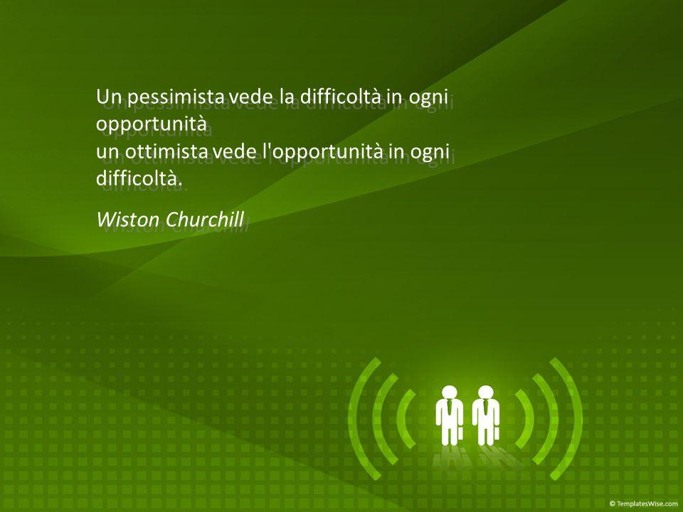 Un pessimista vede la difficoltà in ogni opportunità un ottimista vede l opportunità in ogni difficoltà.