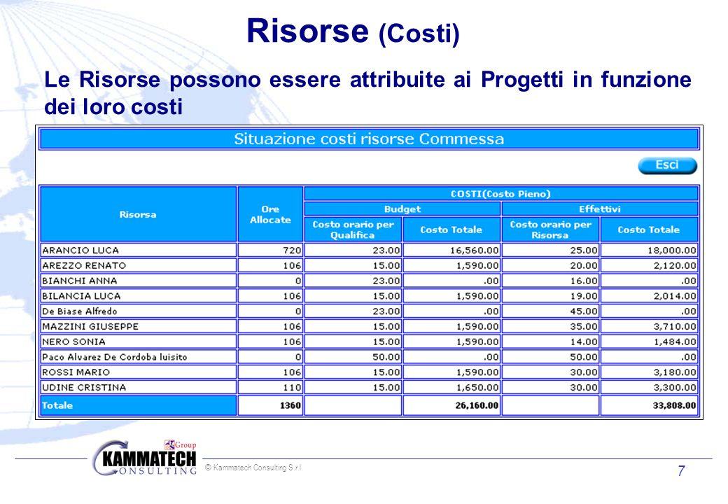 Risorse (Costi) Le Risorse possono essere attribuite ai Progetti in funzione dei loro costi