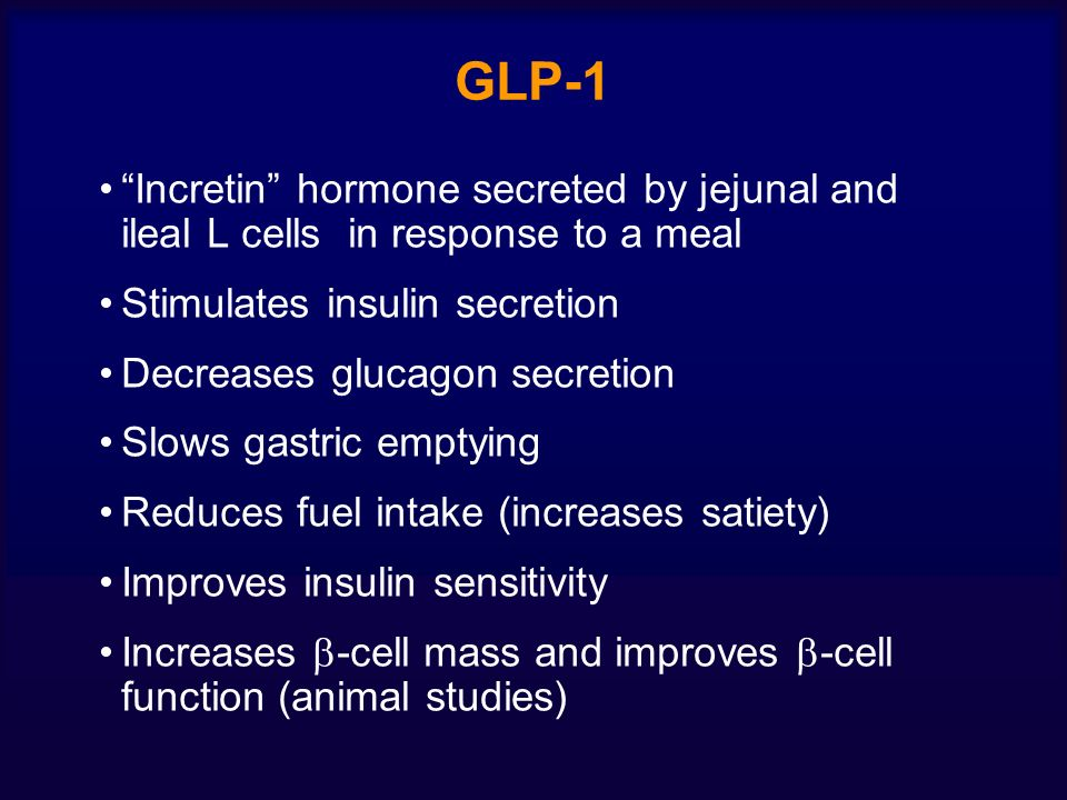GLP-1 Incretin hormone secreted by jejunal and ileal L cells in response to a meal. Stimulates insulin secretion.