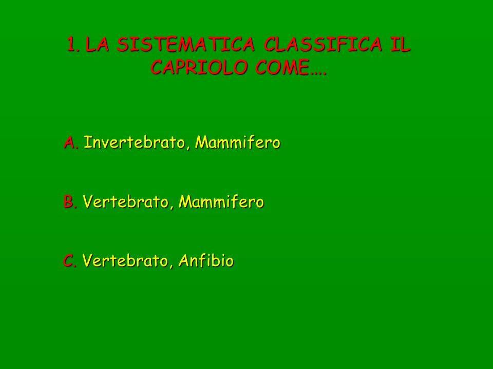 1. LA SISTEMATICA CLASSIFICA IL CAPRIOLO COME….