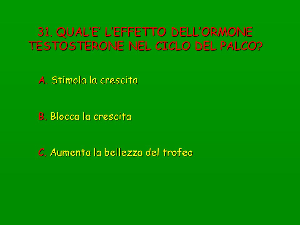 31. QUAL'E' L'EFFETTO DELL'ORMONE TESTOSTERONE NEL CICLO DEL PALCO