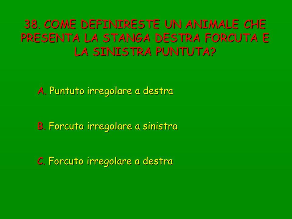 38. COME DEFINIRESTE UN ANIMALE CHE PRESENTA LA STANGA DESTRA FORCUTA E LA SINISTRA PUNTUTA