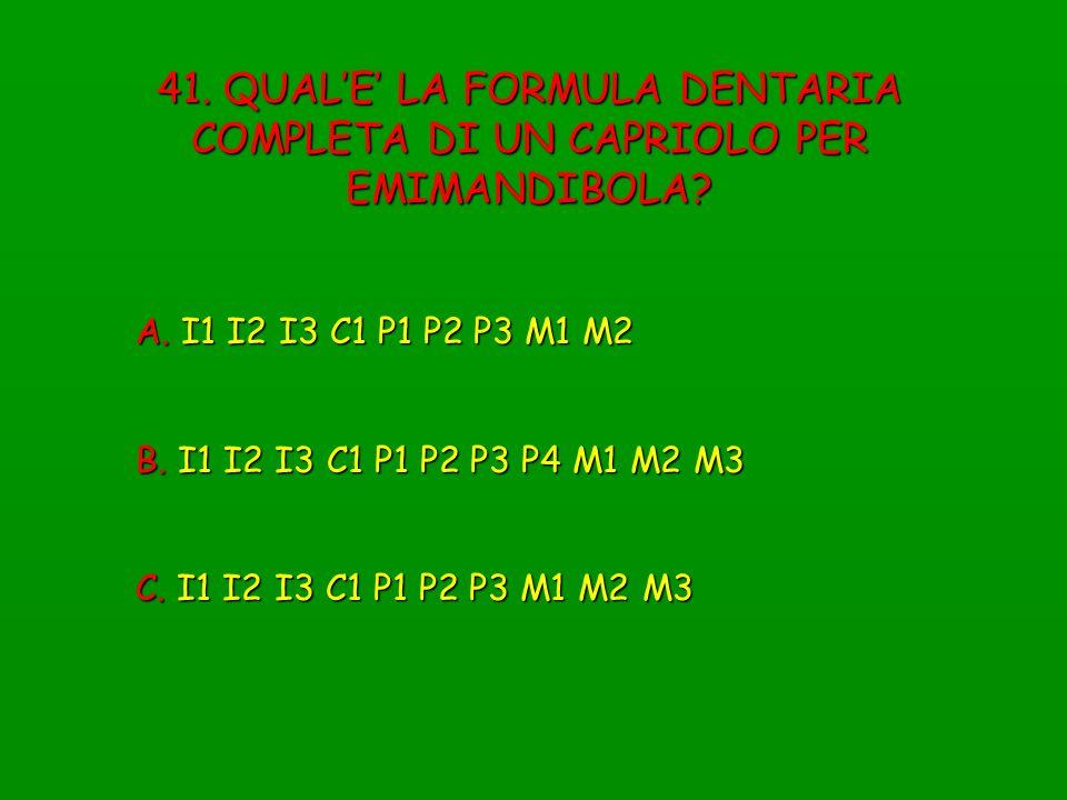 41. QUAL'E' LA FORMULA DENTARIA COMPLETA DI UN CAPRIOLO PER EMIMANDIBOLA