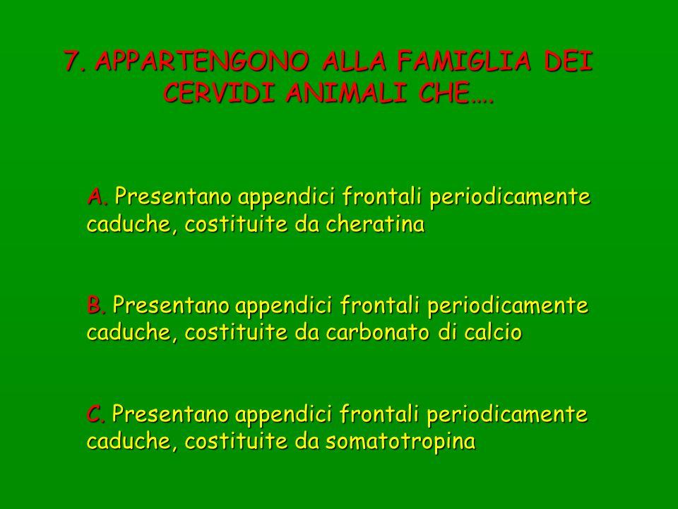 7. APPARTENGONO ALLA FAMIGLIA DEI CERVIDI ANIMALI CHE….
