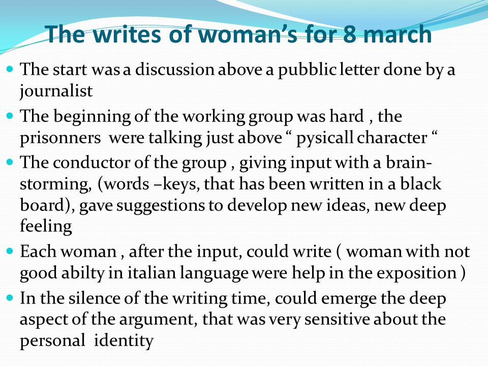 The writes of woman's for 8 march