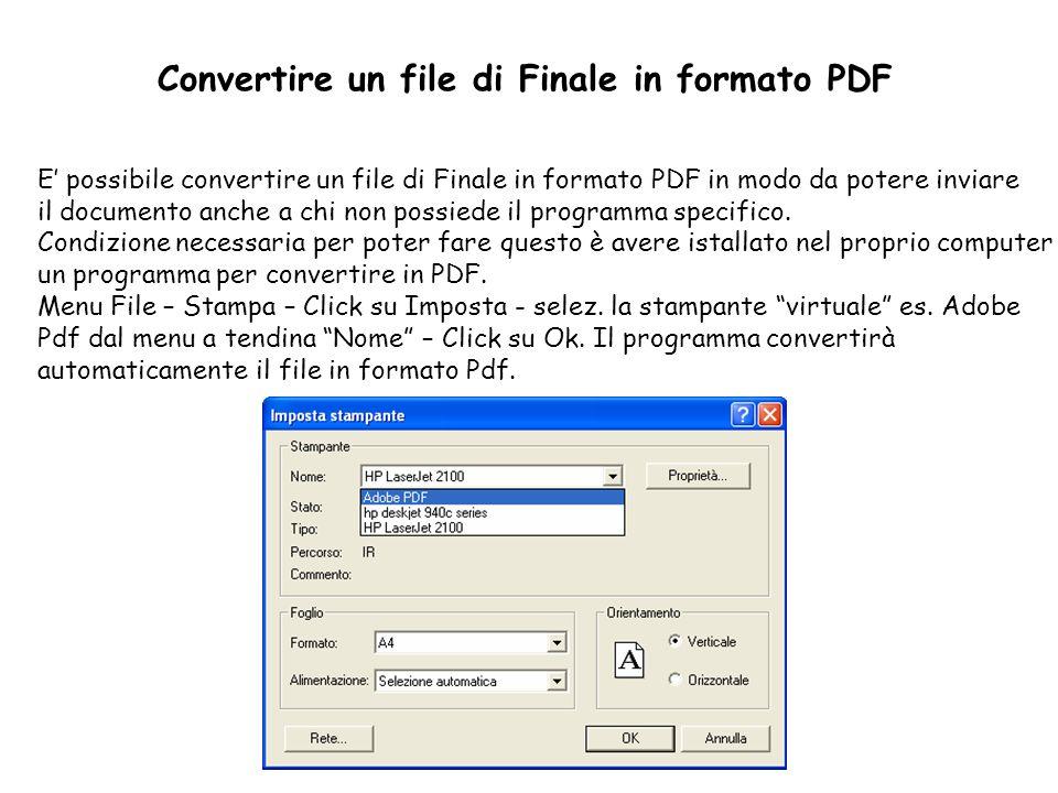 Convertire un file di Finale in formato PDF