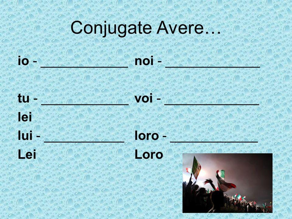 Conjugate Avere… io - ____________ noi - _____________