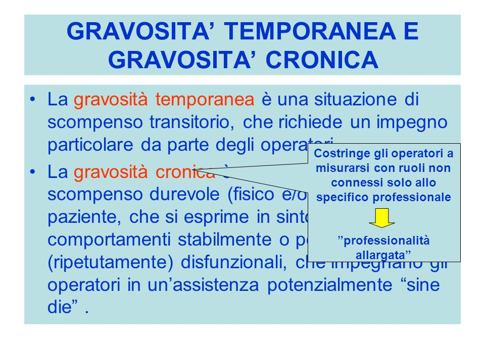GRAVOSITA' TEMPORANEA E GRAVOSITA' CRONICA