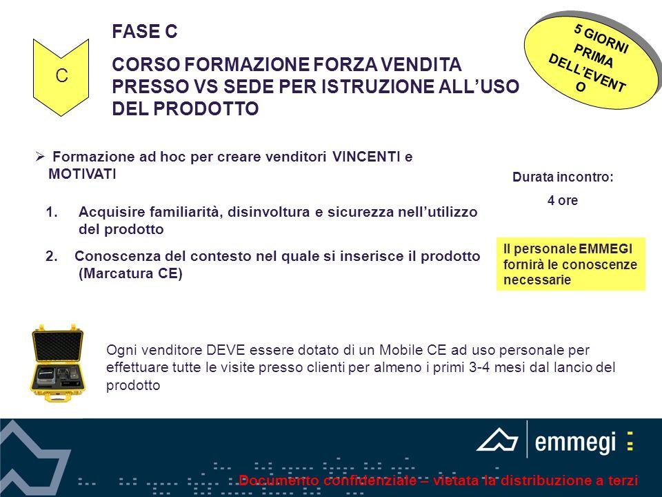 FASE C CORSO FORMAZIONE FORZA VENDITA PRESSO VS SEDE PER ISTRUZIONE ALL'USO DEL PRODOTTO. 5 GIORNI.