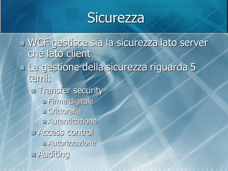 Sicurezza WCF gestisce sia la sicurezza lato server che lato client
