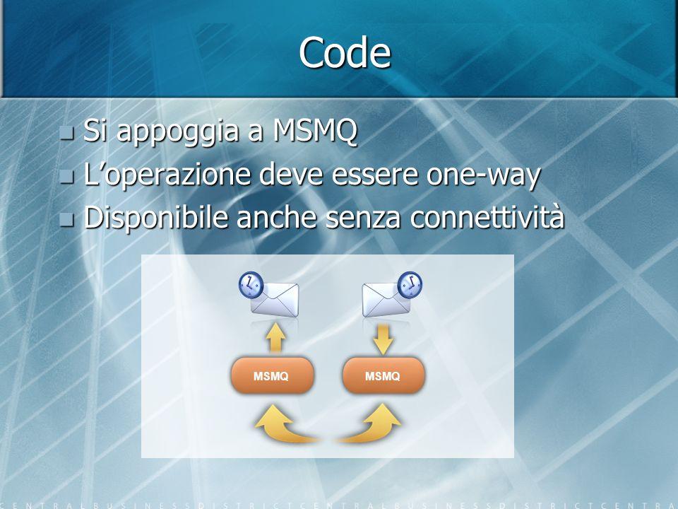Code Si appoggia a MSMQ L'operazione deve essere one-way