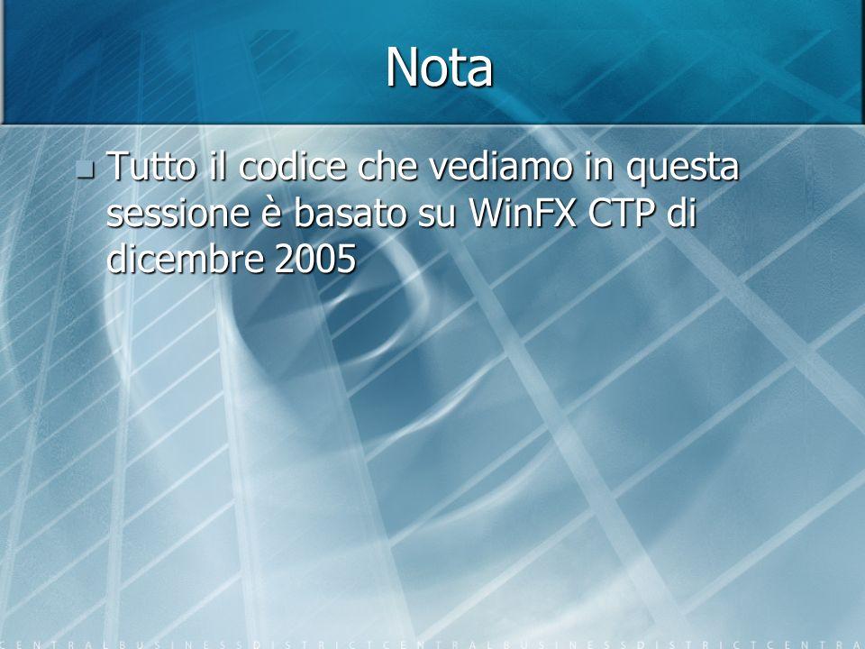 Nota Tutto il codice che vediamo in questa sessione è basato su WinFX CTP di dicembre 2005