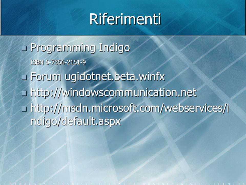 Riferimenti Programming Indigo ISBN 0-7356-2151-9