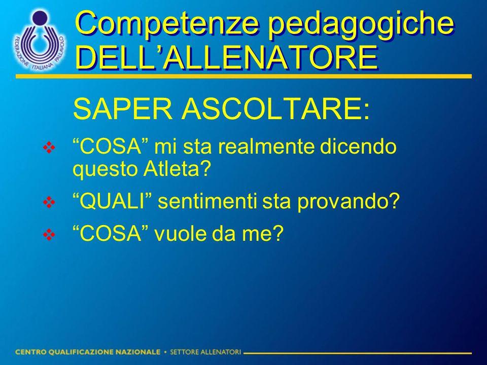 Competenze pedagogiche DELL'ALLENATORE