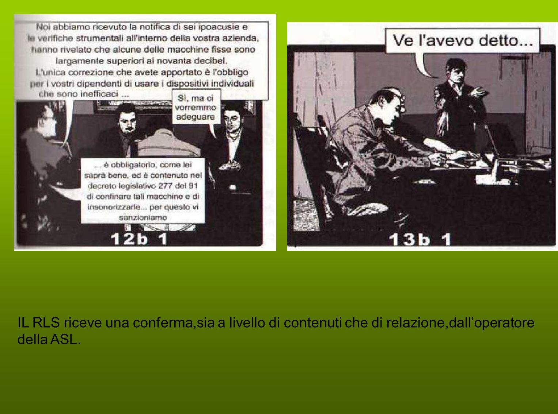 IL RLS riceve una conferma,sia a livello di contenuti che di relazione,dall'operatore della ASL.