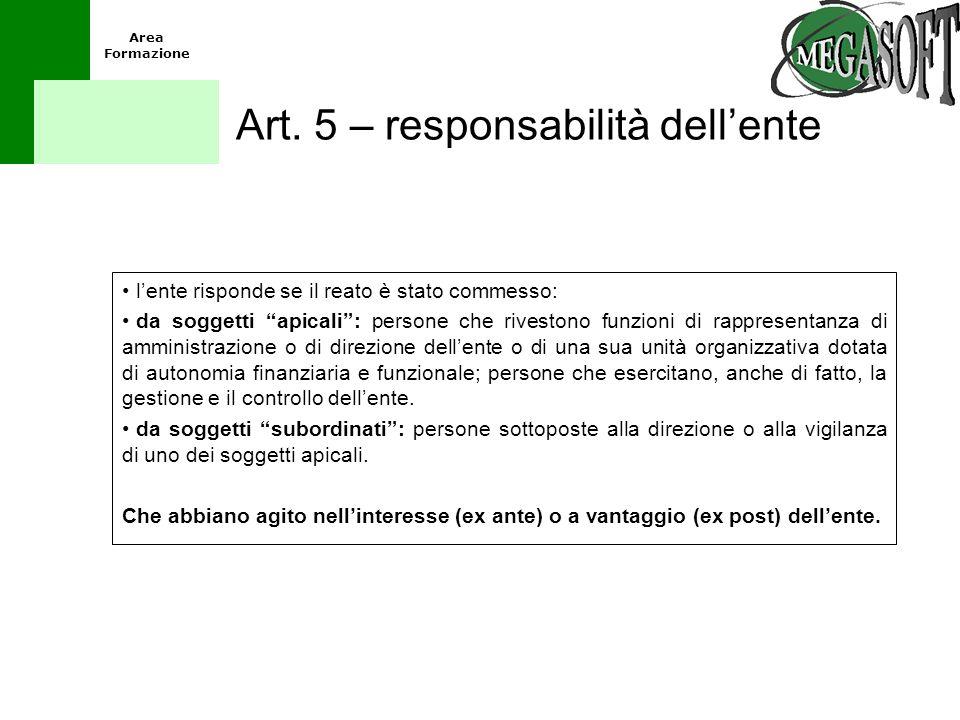 Art. 5 – responsabilità dell'ente
