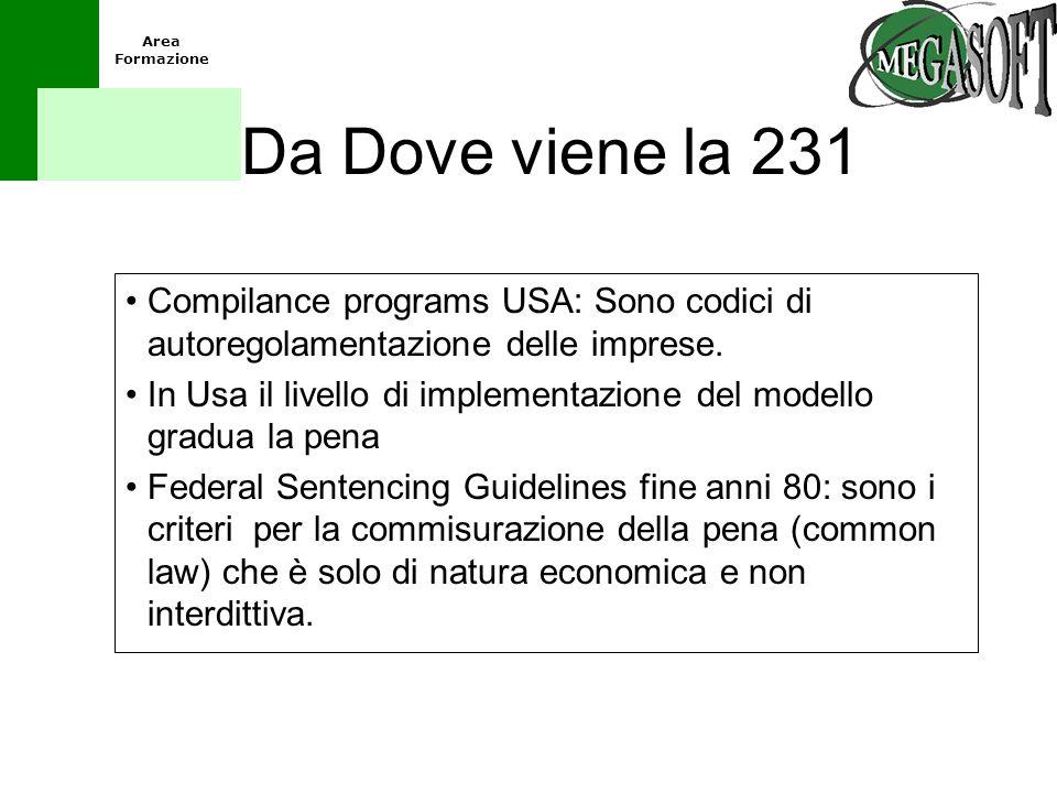 Da Dove viene la 231 Compilance programs USA: Sono codici di autoregolamentazione delle imprese.