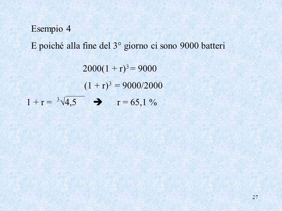Esempio 4 E poiché alla fine del 3° giorno ci sono 9000 batteri. 2000(1 + r)3 = 9000. (1 + r)3 = 9000/2000.