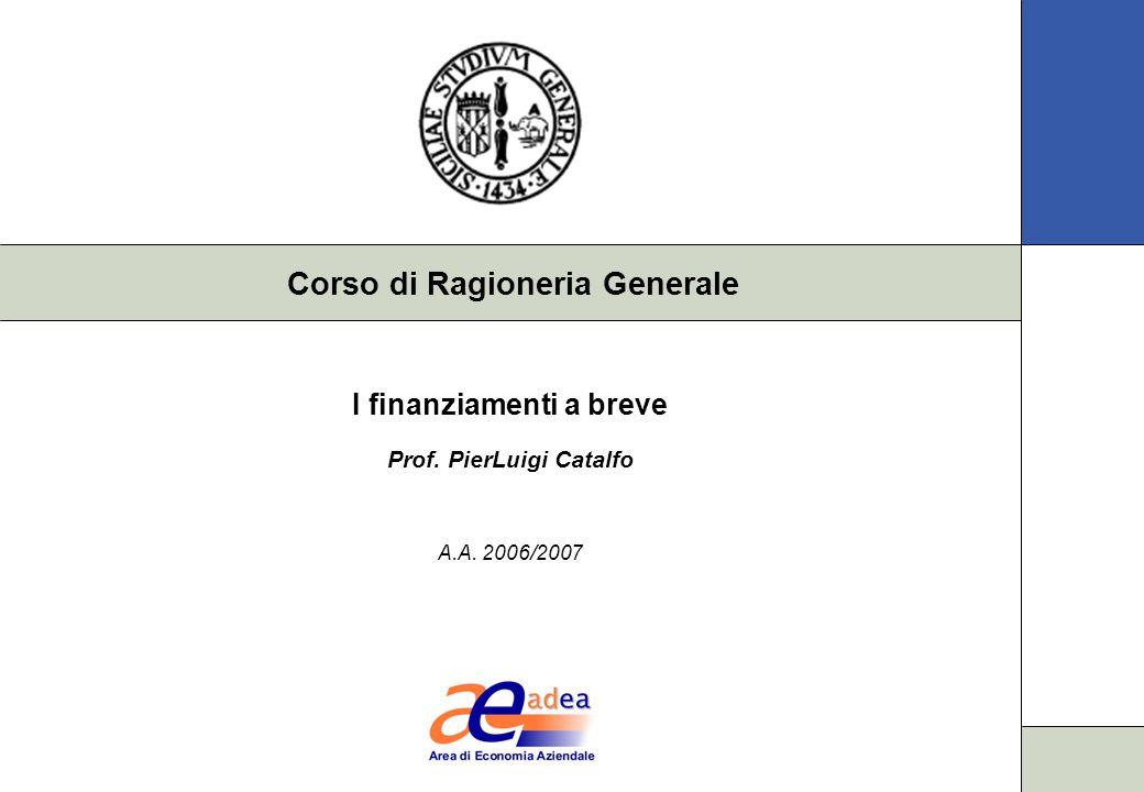 I finanziamenti a breve Prof. PierLuigi Catalfo A.A. 2006/2007