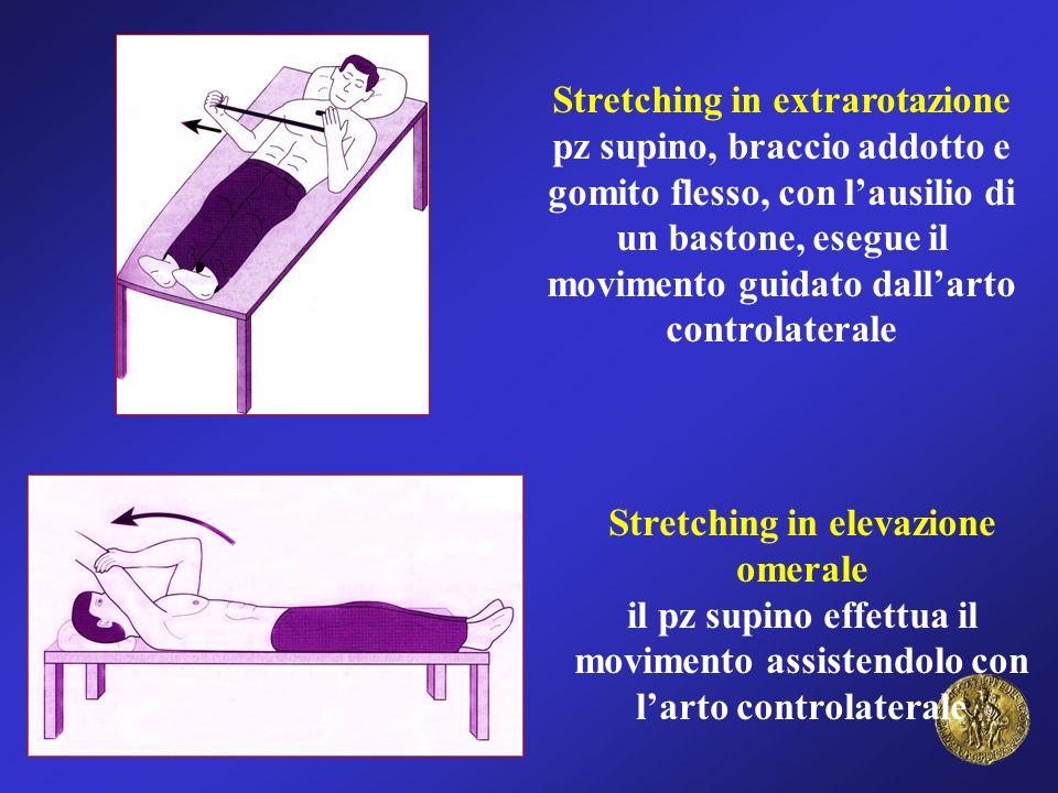Stretching in extrarotazione pz supino, braccio addotto e gomito flesso, con l'ausilio di un bastone, esegue il movimento guidato dall'arto controlaterale