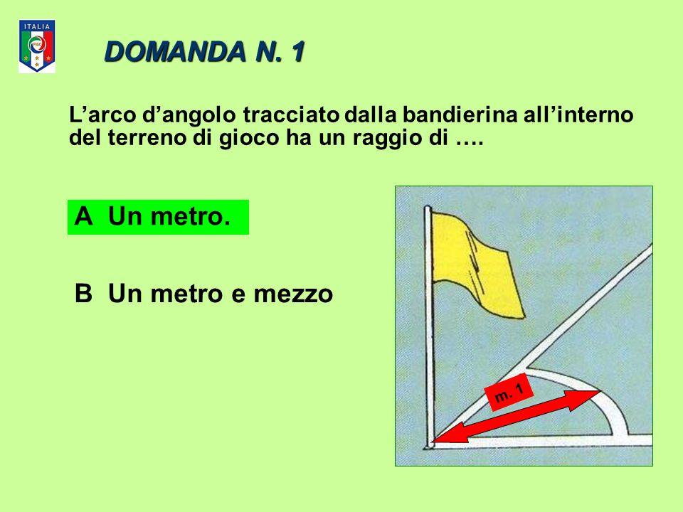 DOMANDA N. 1 A Un metro. B Un metro e mezzo