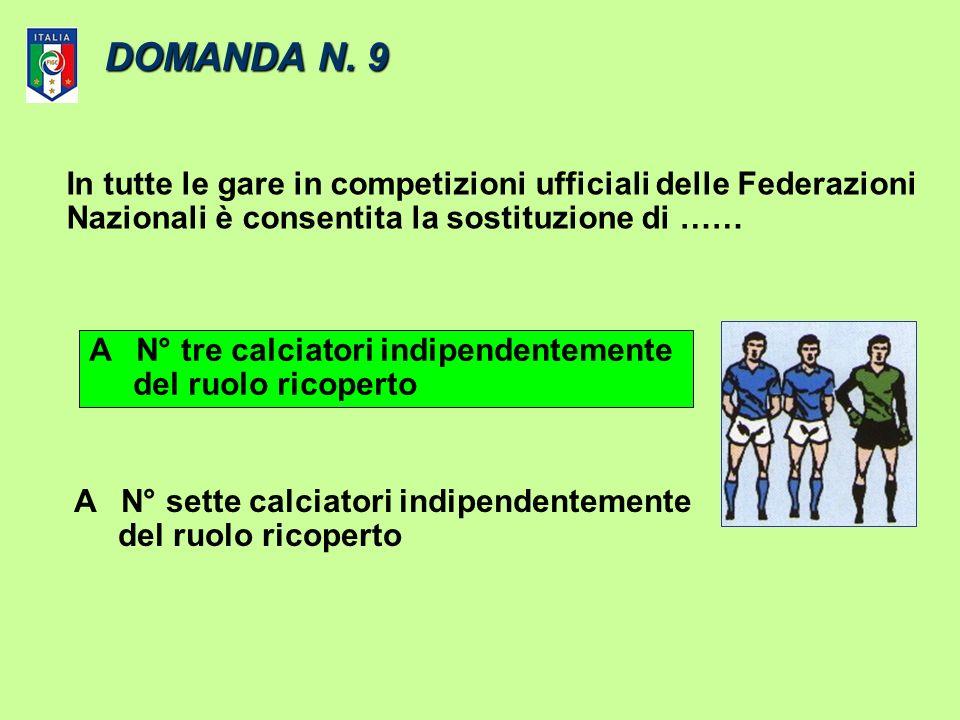 DOMANDA N. 9 In tutte le gare in competizioni ufficiali delle Federazioni. Nazionali è consentita la sostituzione di ……
