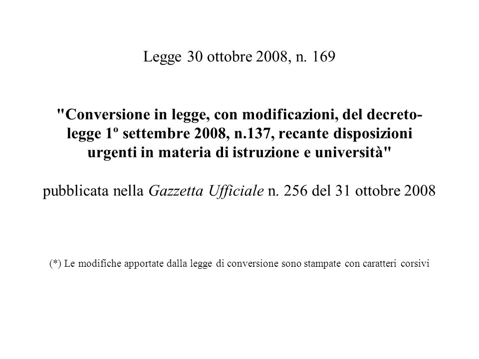 Legge 30 ottobre 2008, n.