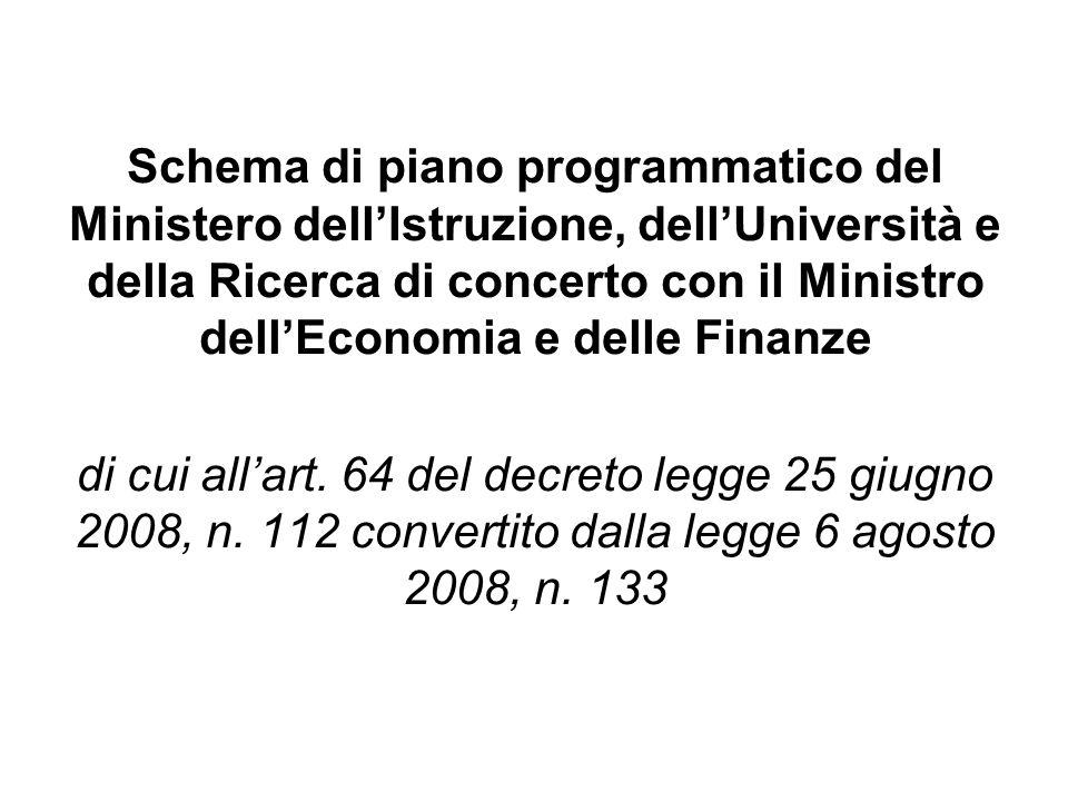 Schema di piano programmatico del Ministero dell'Istruzione, dell'Università e della Ricerca di concerto con il Ministro dell'Economia e delle Finanze