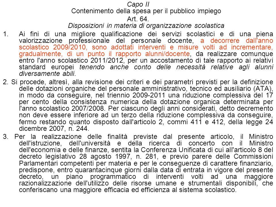 Capo II Contenimento della spesa per il pubblico impiego