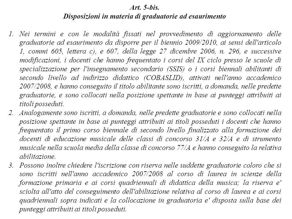 Disposizioni in materia di graduatorie ad esaurimento