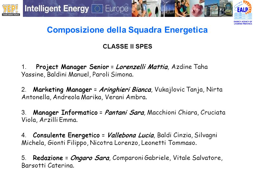 Composizione della Squadra Energetica
