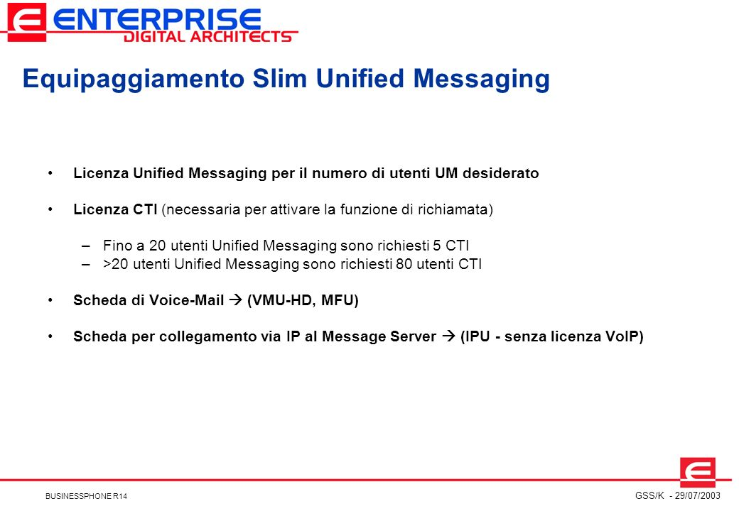 Equipaggiamento Slim Unified Messaging