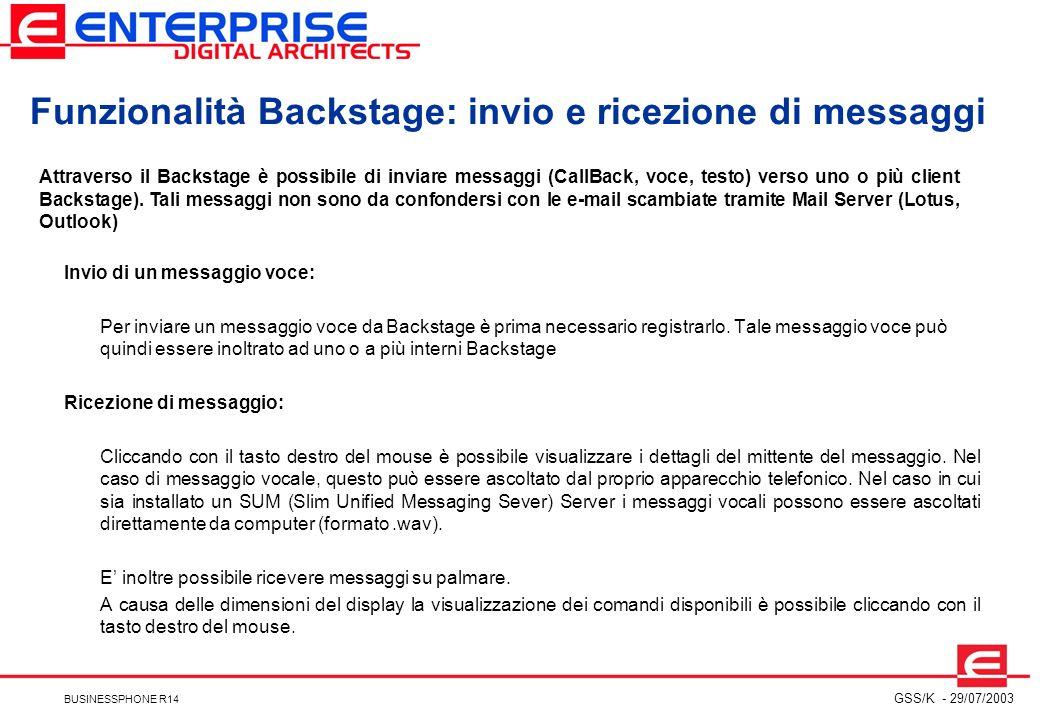 Funzionalità Backstage: invio e ricezione di messaggi