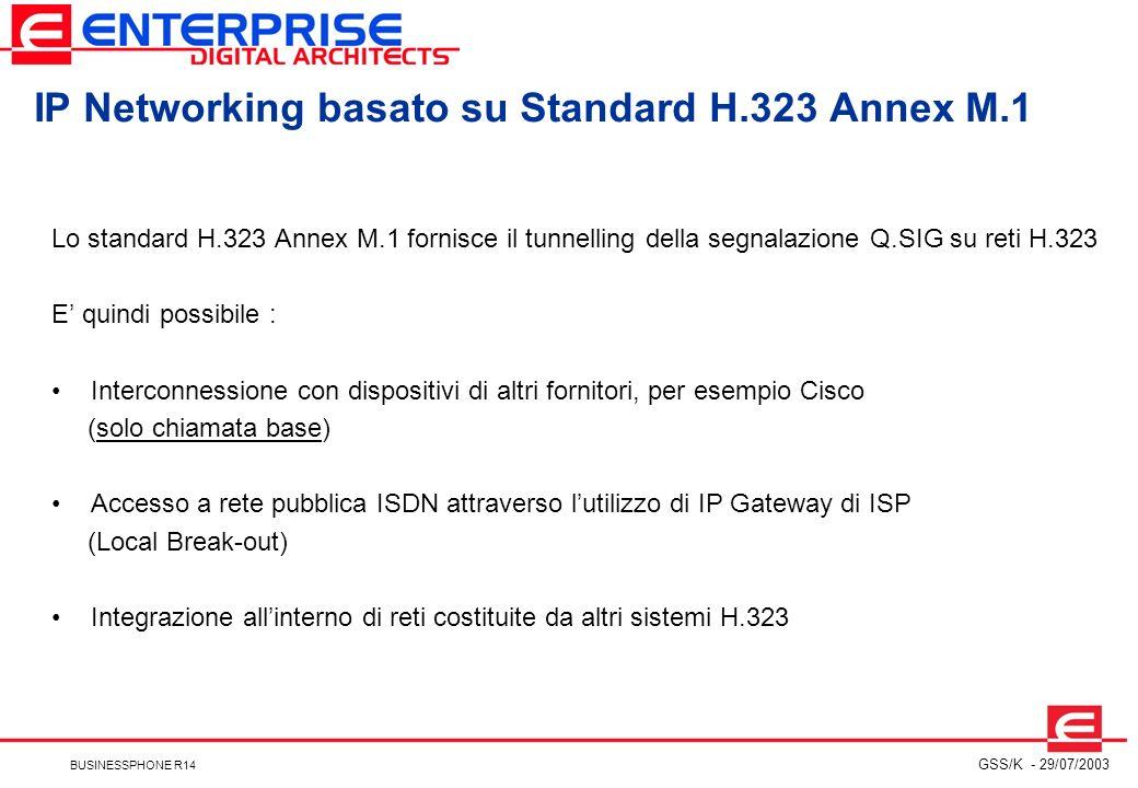 IP Networking basato su Standard H.323 Annex M.1