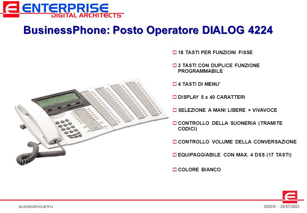 BusinessPhone: Posto Operatore DIALOG 4224