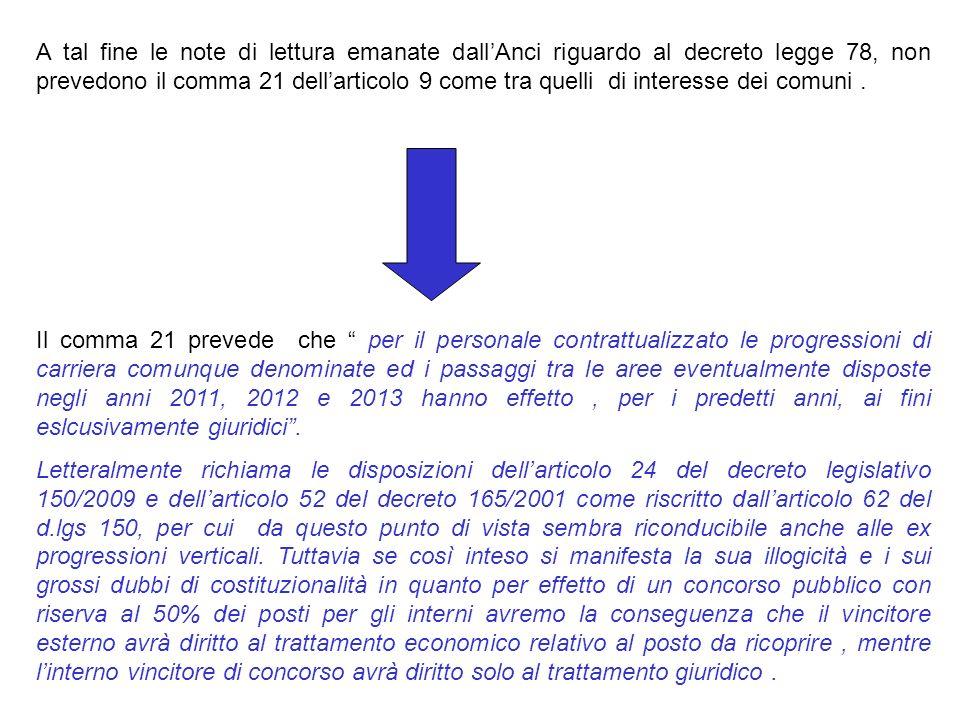 A tal fine le note di lettura emanate dall'Anci riguardo al decreto legge 78, non prevedono il comma 21 dell'articolo 9 come tra quelli di interesse dei comuni .