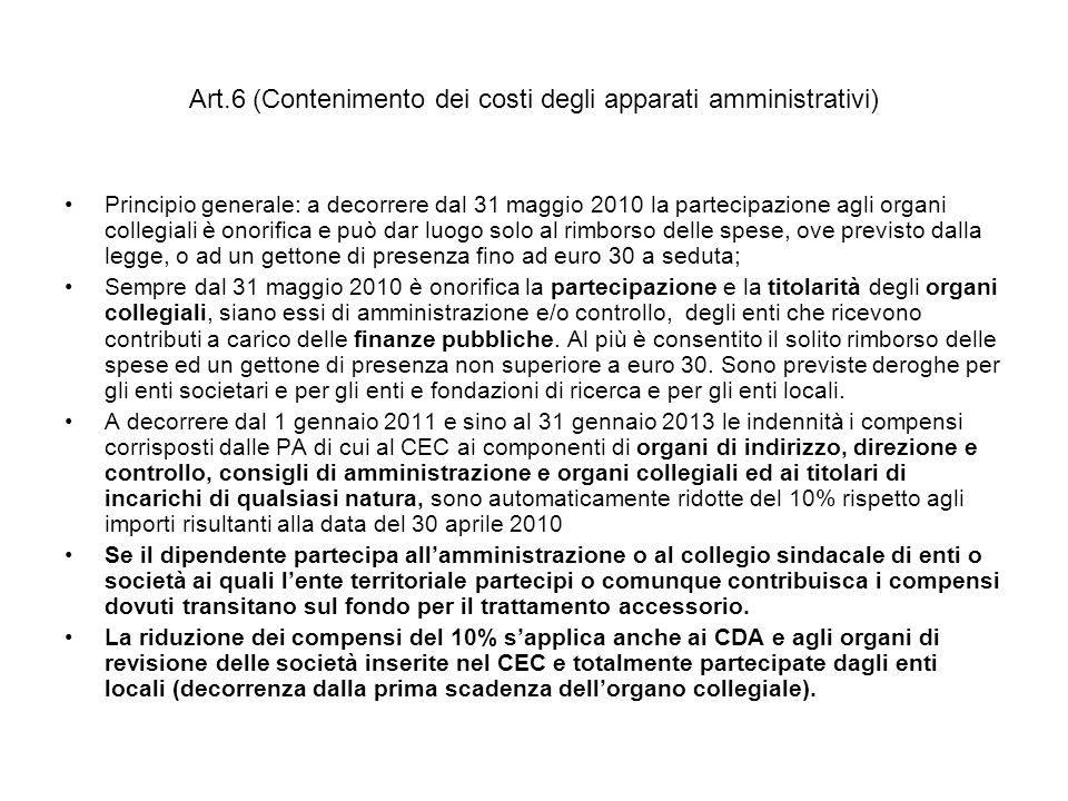 Art.6 (Contenimento dei costi degli apparati amministrativi)