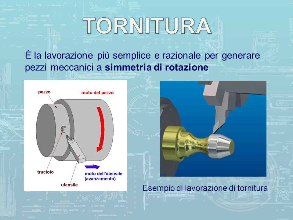 TORNITURA È la lavorazione più semplice e razionale per generare pezzi meccanici a simmetria di rotazione.
