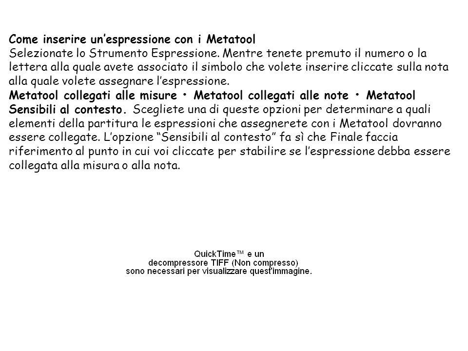Come inserire un'espressione con i Metatool