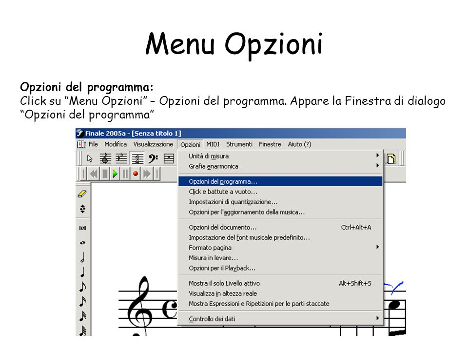Menu Opzioni Opzioni del programma:
