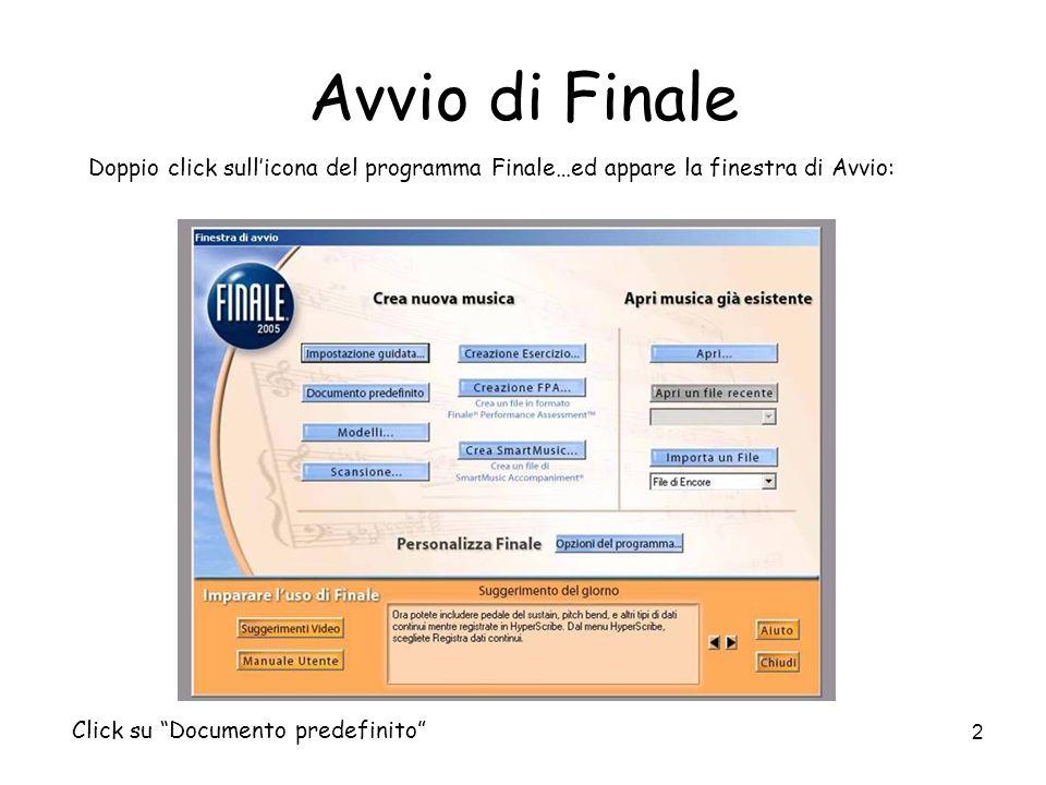Avvio di Finale Doppio click sull'icona del programma Finale…ed appare la finestra di Avvio: Click su Documento predefinito