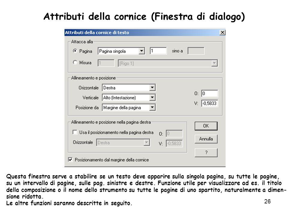 Attributi della cornice (Finestra di dialogo)