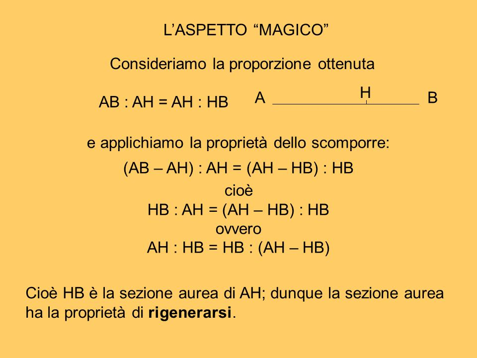 Consideriamo la proporzione ottenuta AB : AH = AH : HB H A B