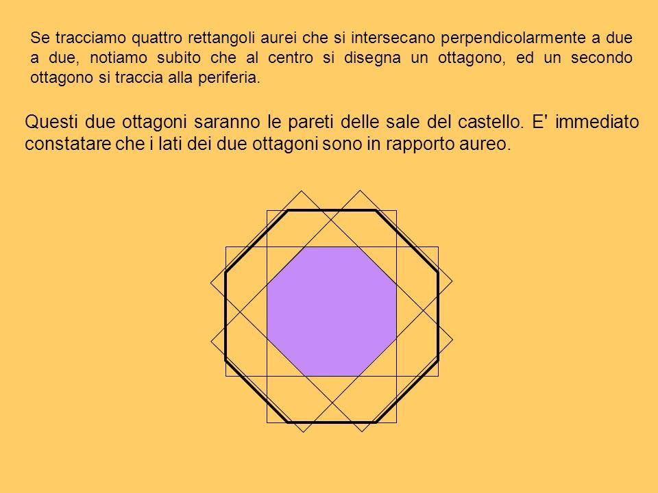 Se tracciamo quattro rettangoli aurei che si intersecano perpendicolarmente a due a due, notiamo subito che al centro si disegna un ottagono, ed un secondo ottagono si traccia alla periferia.