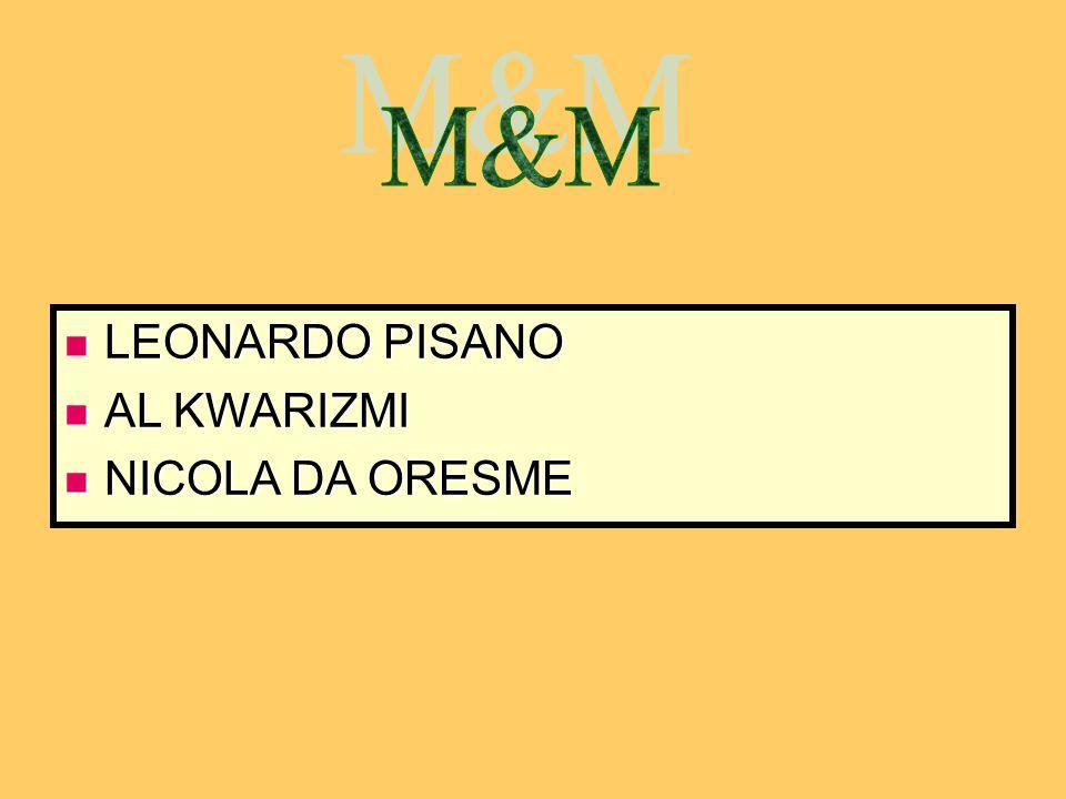 M&M LEONARDO PISANO AL KWARIZMI NICOLA DA ORESME