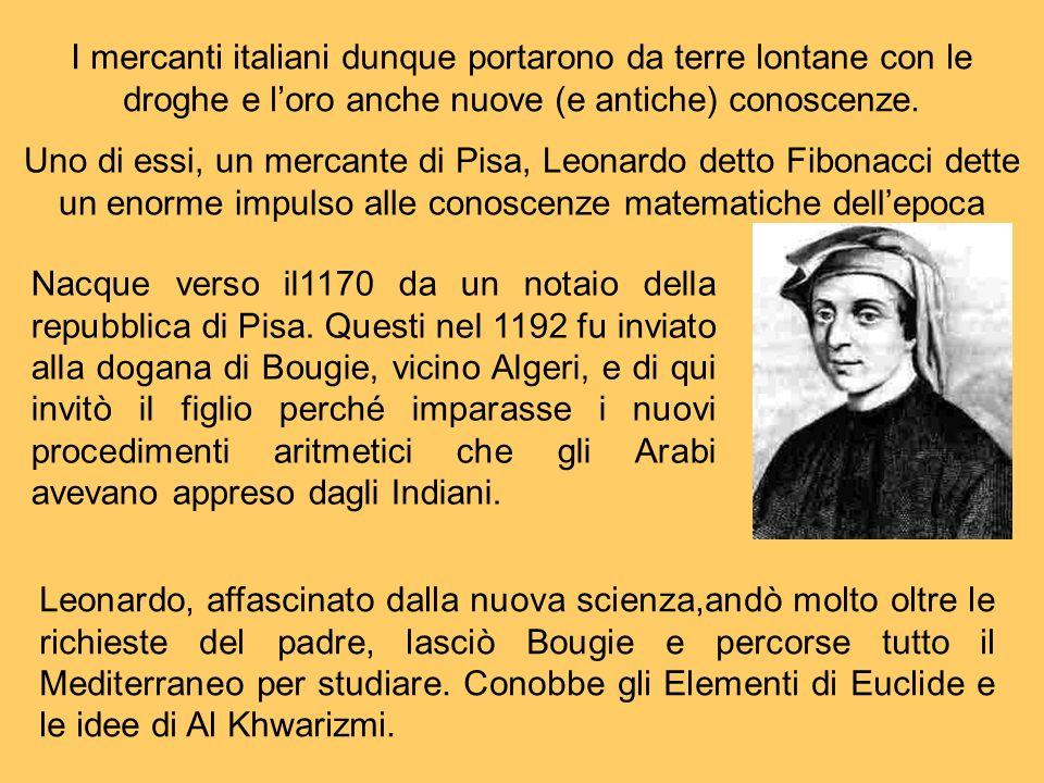 I mercanti italiani dunque portarono da terre lontane con le droghe e l'oro anche nuove (e antiche) conoscenze.