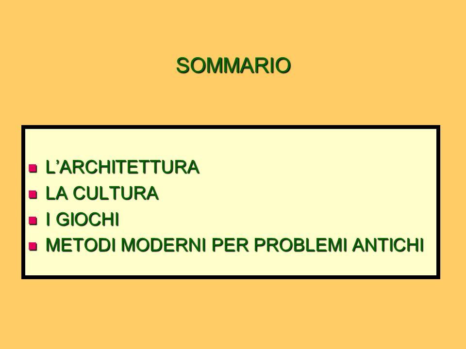SOMMARIO L'ARCHITETTURA LA CULTURA I GIOCHI