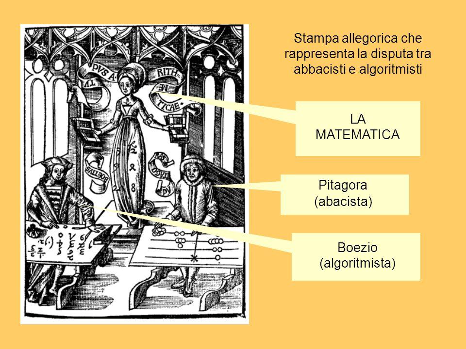 Stampa allegorica che rappresenta la disputa tra abbacisti e algoritmisti